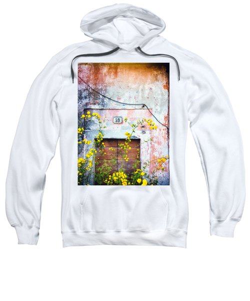 Sweatshirt featuring the photograph Yellow Flowers And Decayed Wall by Silvia Ganora