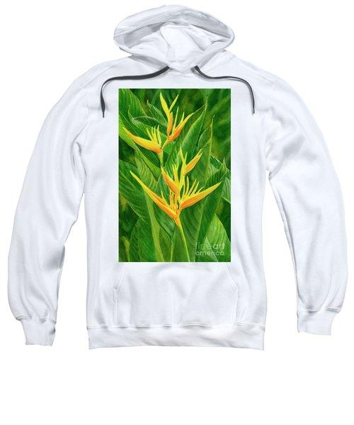 Yellow Orange Heliconia With Leaves Sweatshirt