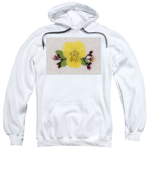 Yellow Pansy And Coral Bells Pressed Flowers Sweatshirt