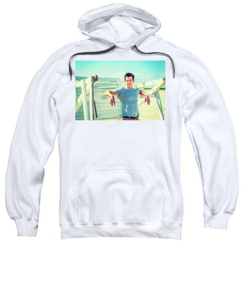 Young Man Relaxing On The Beach Sweatshirt