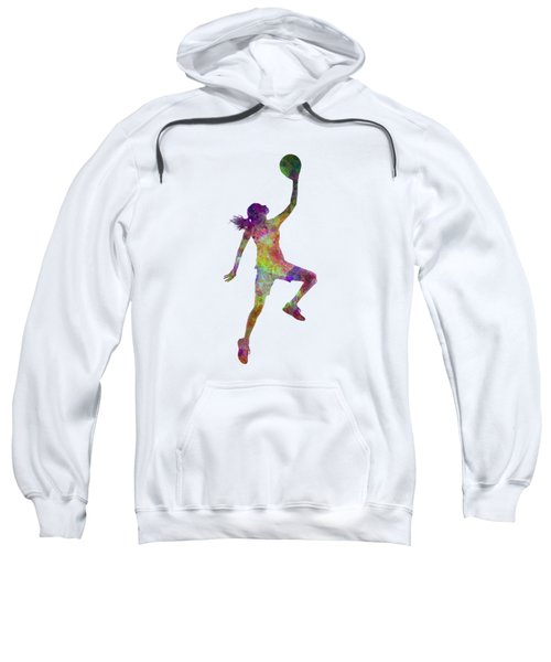 Young Woman Basketball Player 02 In Watercolor Sweatshirt by Pablo Romero