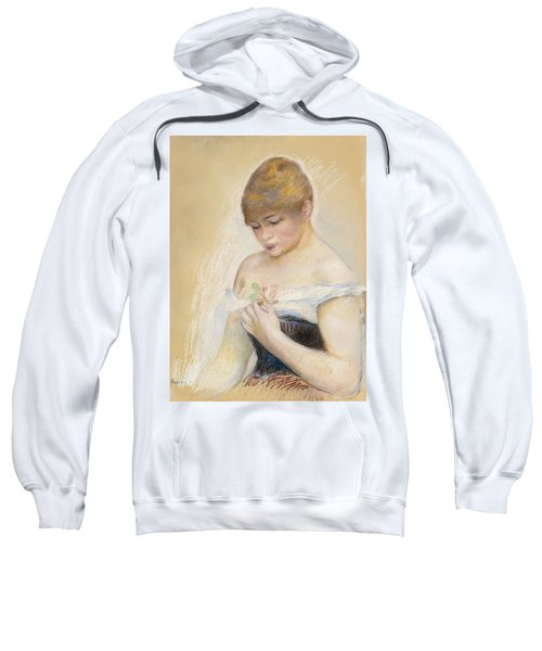 Young Woman Holding A Flower. Portrait Of Jeanne Samary Sweatshirt