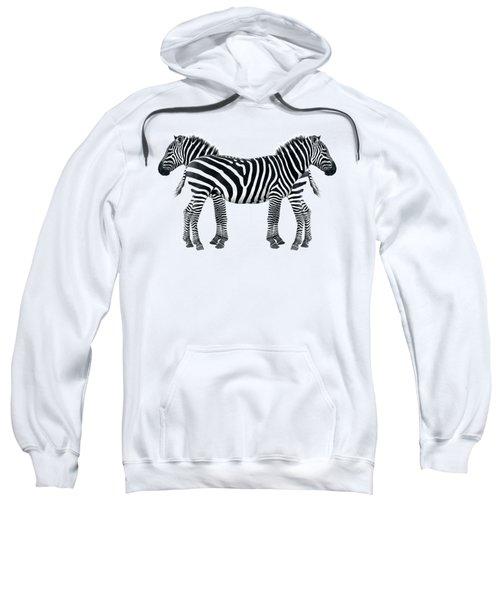 Zebra Pair On Black Sweatshirt by Gill Billington