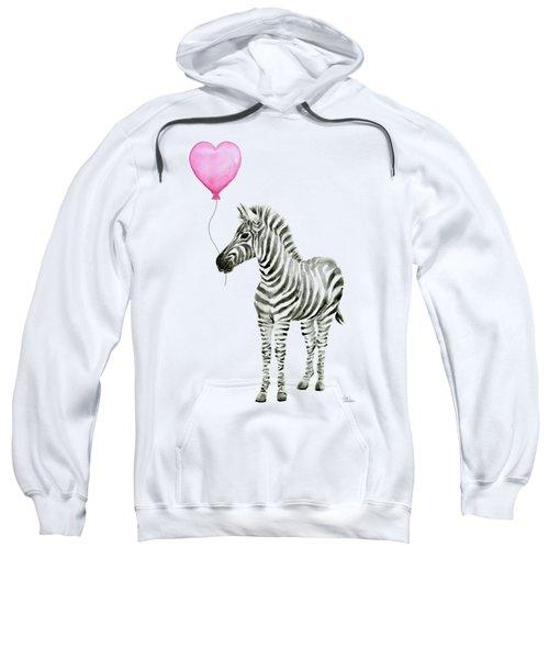 Zebra Watercolor Whimsical Animal With Balloon Sweatshirt