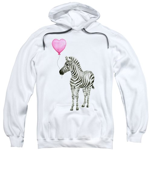 Zebra Watercolor Whimsical Animal With Balloon Sweatshirt