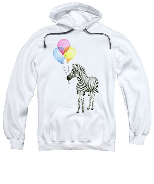 Zebra With Balloons Watercolor Whimsical Animal Sweatshirt by Olga Shvartsur