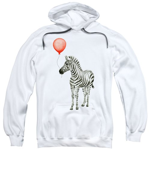 Zebra With Red Balloon Whimsical Baby Animals Sweatshirt by Olga Shvartsur