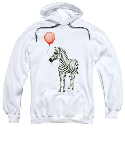 Zebra With Red Balloon Whimsical Baby Animals Sweatshirt by Olga Shvartsur