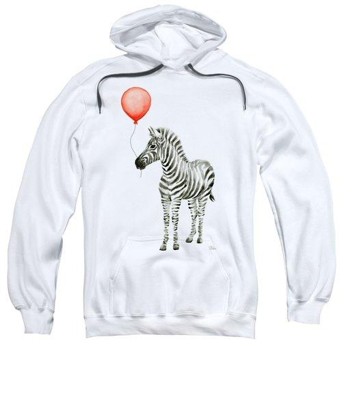Zebra With Red Balloon Whimsical Baby Animals Sweatshirt