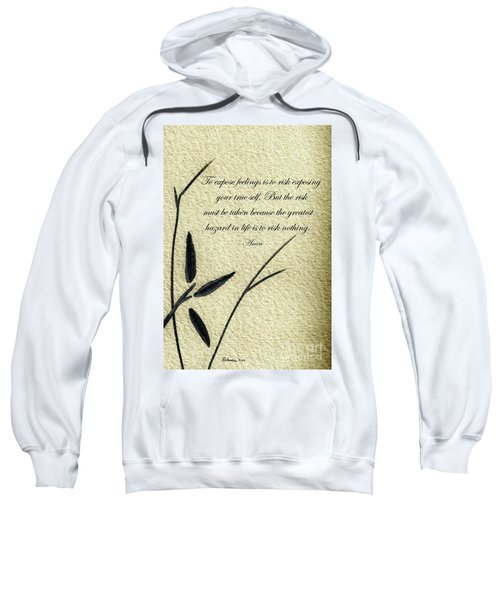 Zen Sumi 4m Antique Motivational Flower Ink On Watercolor Paper By Ricardos Sweatshirt