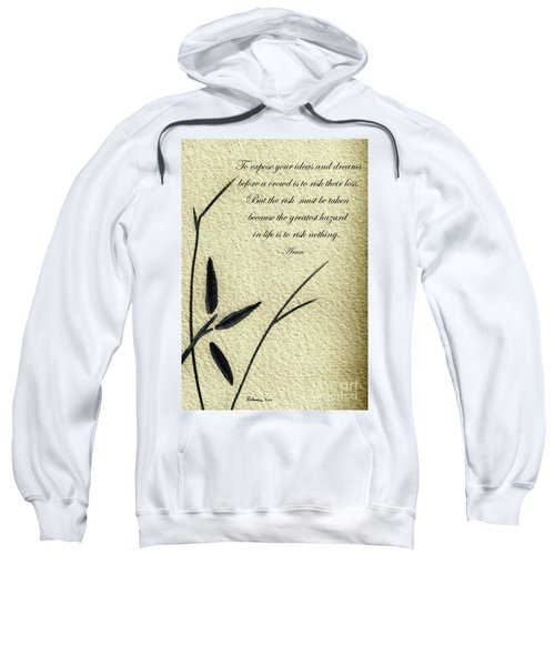 Zen Sumi 4n Antique Motivational Flower Ink On Watercolor Paper By Ricardos Sweatshirt