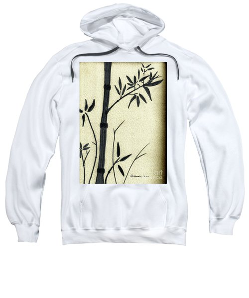 Zen Sumi Antique Bamboo 1a Black Ink On Fine Art Watercolor Paper By Ricardos Sweatshirt