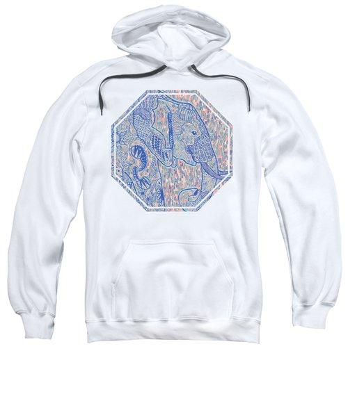 Zentangle Elephant-oil Sweatshirt by Becky Herrera