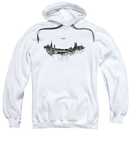 Zurich Black And White Skyline Sweatshirt by Marian Voicu