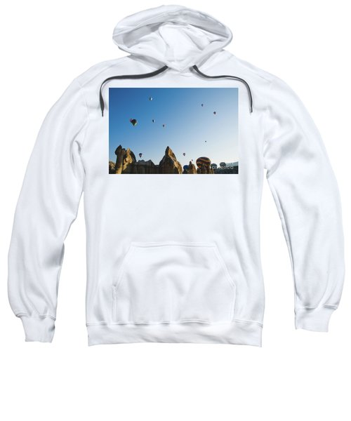 Colorful Balloons Flying Over Mountains And With Blue Sky Sweatshirt