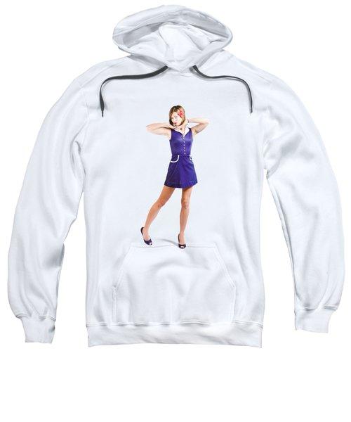 50s Pin-up Girl In Retro Purple Polka Dot Dress Sweatshirt