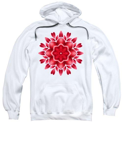 Abstract Watercolor Red Floral Mandala Sweatshirt