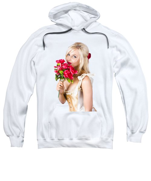 Adorable Florist Woman Smelling Red Flowers Sweatshirt