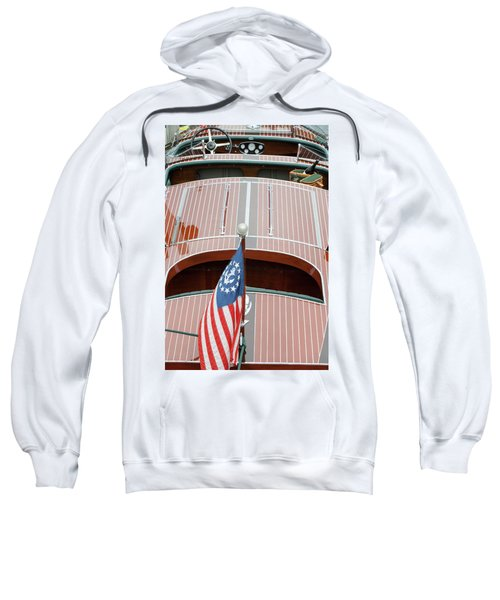 Antique Wooden Boat With Flag 1303 Sweatshirt