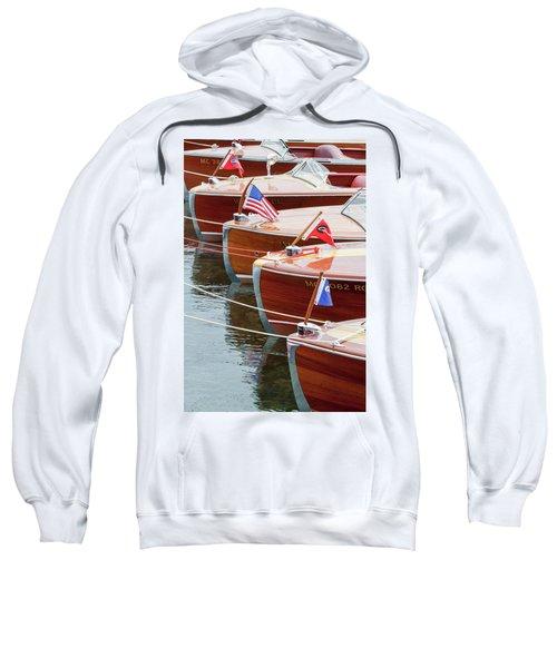 Antique Wooden Boats In A Row Portrait 1301 Sweatshirt
