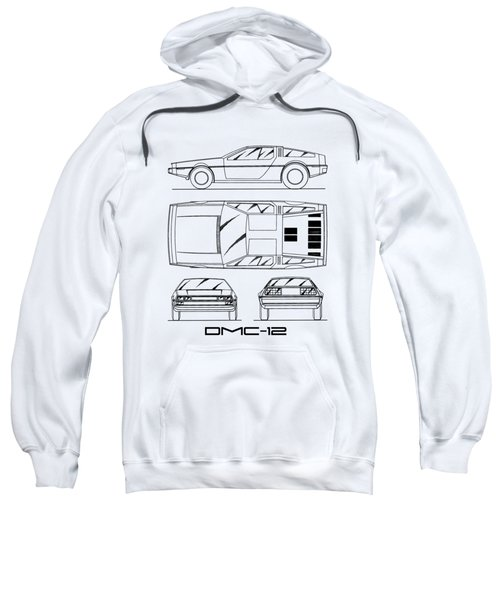 The Delorean Dmc-12 Blueprint - White Sweatshirt