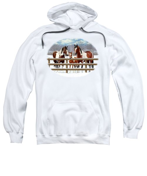 Bay Paint Horses In Snow Sweatshirt