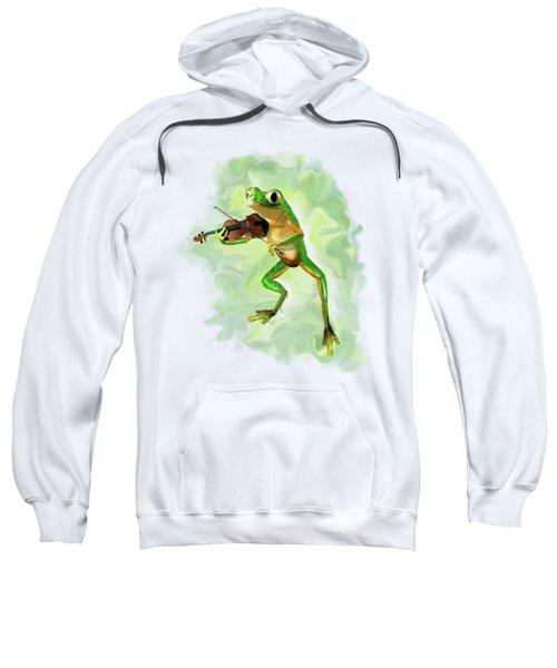 Humorous Tree Frog Playing A Fiddle Sweatshirt