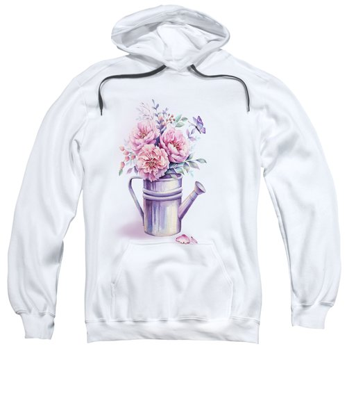 Sweatshirt featuring the painting Pink Peonies Blooming Watercolour by Georgeta Blanaru