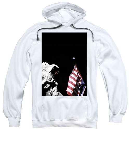 Astronaut With American Flag On The Moon Sweatshirt