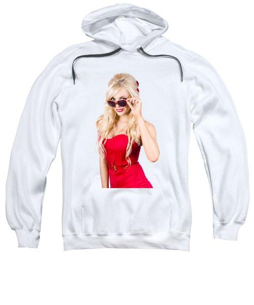 Attractive Young Blonde Woman In Cool Eyewear Sweatshirt