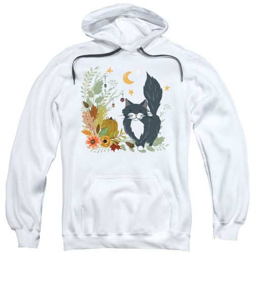 Autumn Garden Moonlit Kitty Cat Sweatshirt