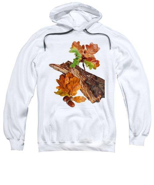 Autumn Oak Leaves And Acorns On White Sweatshirt