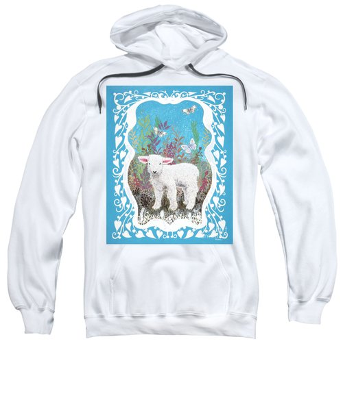 Baby Lamb With White Butterflies Sweatshirt