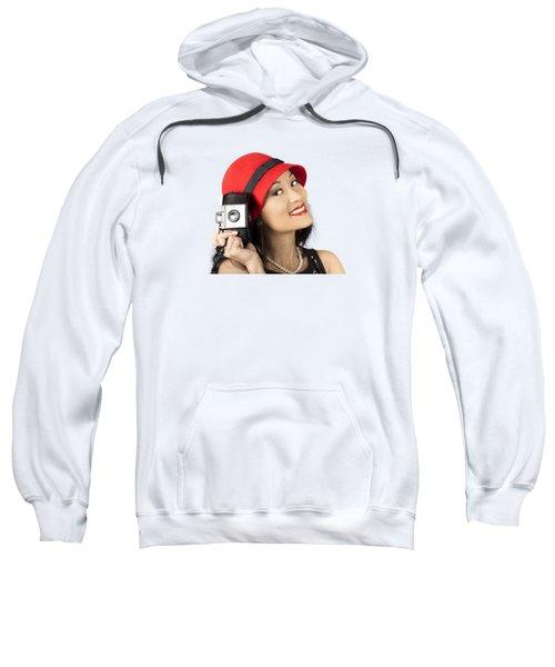 Beautiful Chinese Woman Holding Old Film Camera Sweatshirt