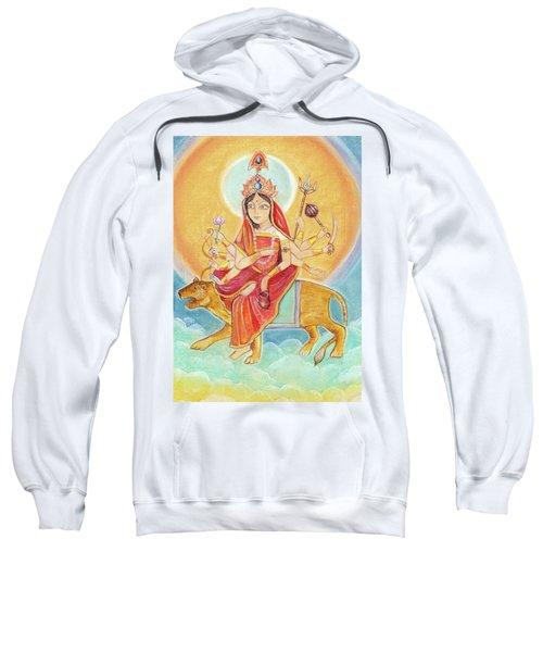 Beautiful Hindu Goddess Rendering Chandraghanta Devi. Navaratri. Day 3. Pastel Drawing. Sweatshirt