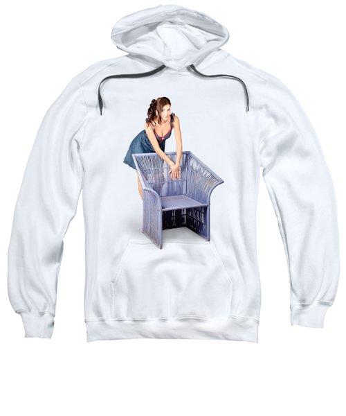 Beautiful Pin Up Woman Posing On Old Cane Chair Sweatshirt