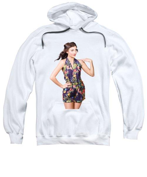 Beautiful Retro Model In Sleeveless Retro Fashion Sweatshirt