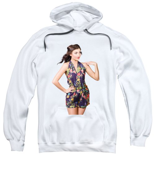 Sweatshirt featuring the photograph Beautiful Retro Model In Sleeveless Retro Fashion by Jorgo Photography - Wall Art Gallery