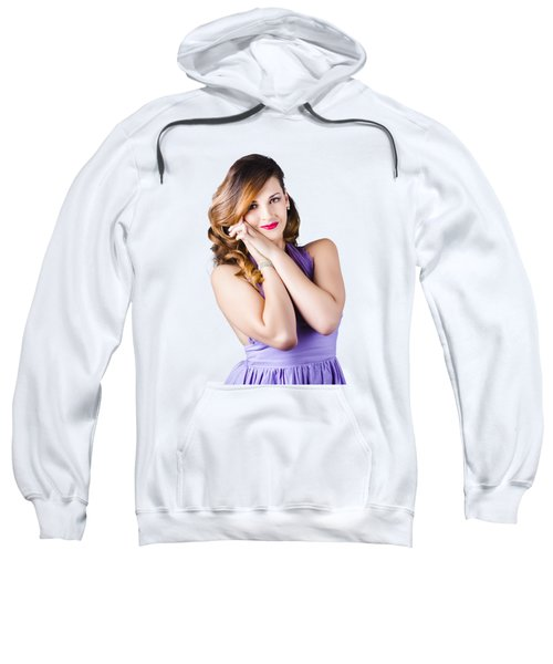 Beautiful Woman In Purple Dress Sweatshirt