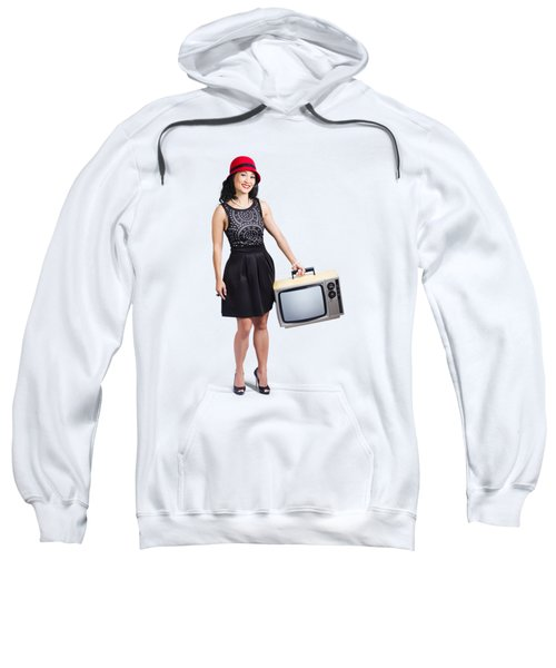Sweatshirt featuring the photograph Beautiful Woman With Television by Jorgo Photography - Wall Art Gallery