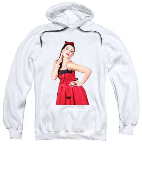 Beautiful Young Pin-up Woman In Retro Fashion Sweatshirt