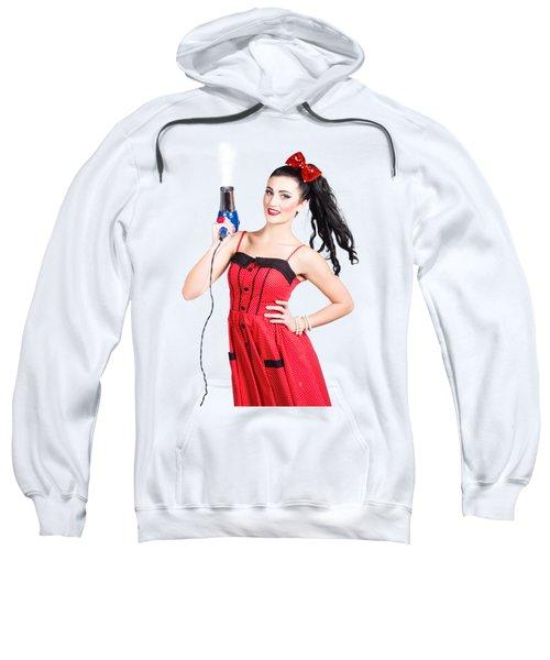 Beauty Style Portrait Of A Elegant Hairdryer Woman Sweatshirt