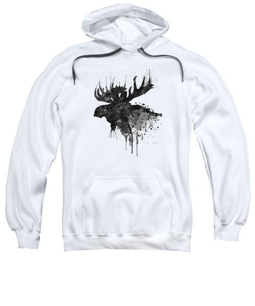 Black And White Moose Head Watercolor Silhouette  Sweatshirt