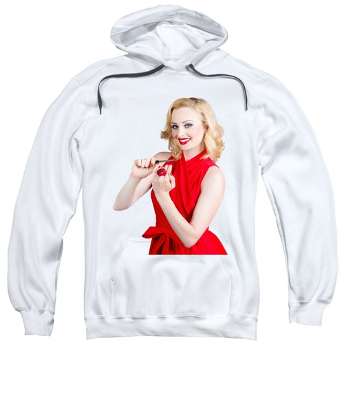 Blond Pinup Woman In Red Dress Making Manicure Sweatshirt