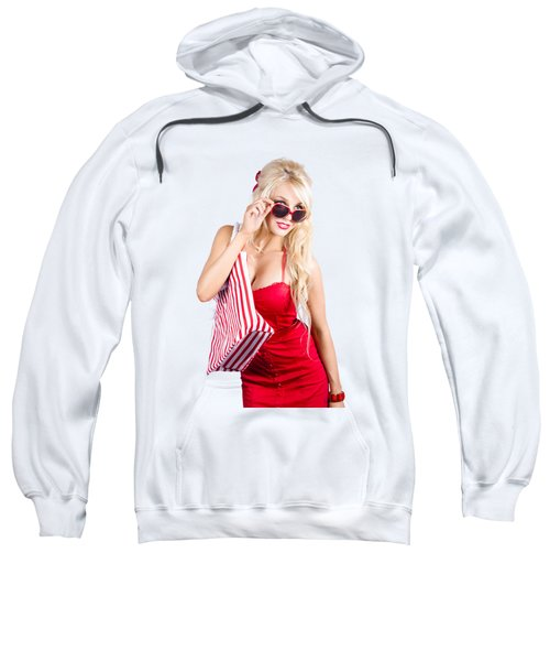Blond Woman Shopping Sweatshirt
