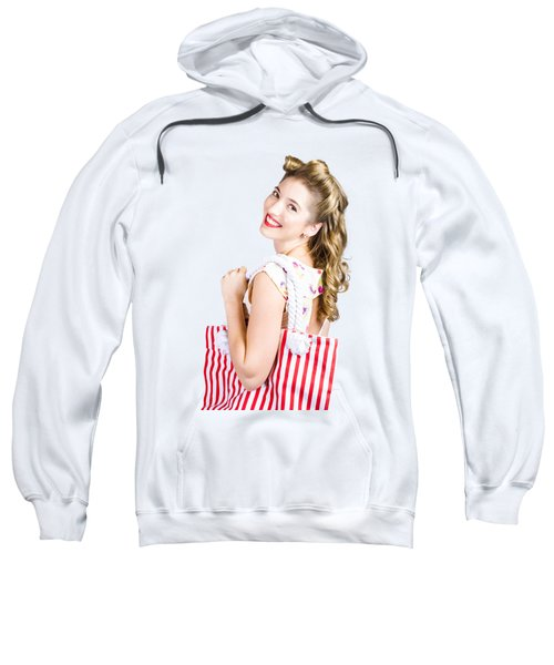 Blonde Style Girl With Shopping Bags On Pink Sweatshirt