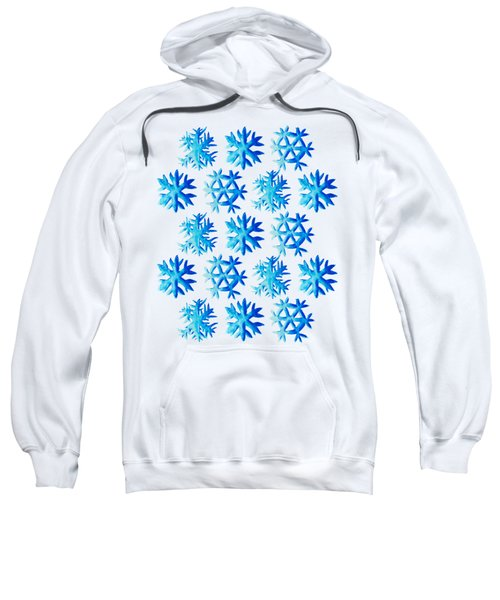 Blue Watercolor Snowflakes Pattern Sweatshirt
