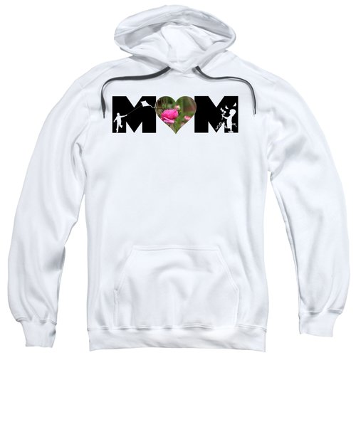 Boy And Girl-pink Ranunculus In Heart Mom Big Letter Sweatshirt