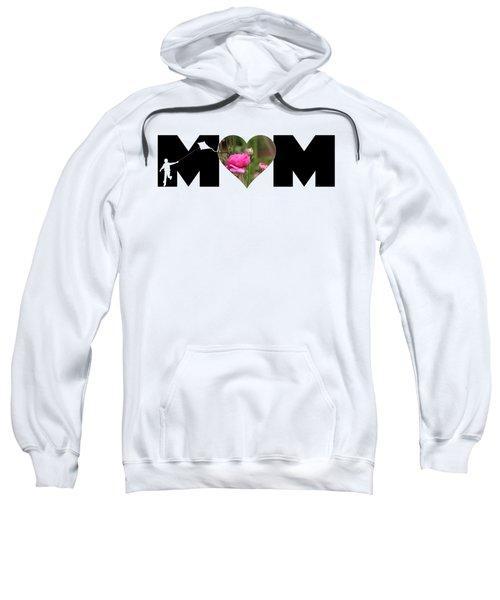 Boy Silhouette And Pink Ranunculus In Heart Mom Big Letter Sweatshirt