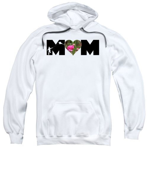 Boy Silhouette And Pink Ranunculus In Heart Mom Big Letter Sweatshirt